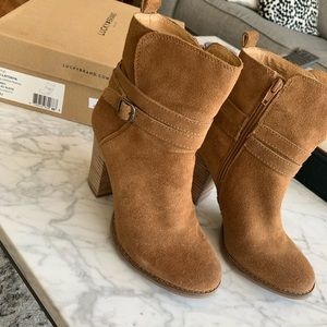Brown suede booties size 7